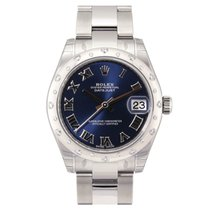 Rolex Lady-Datejust 31 Blue Roman Dial Diamond Bezel 178344