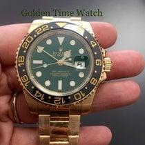 Rolex GMT-Master II Zuto zlato 40mm Zelen Bez brojeva