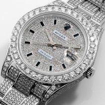 Rolex 41mm Steel Datejust ll Custom Micro Pave Set VS Diamonds