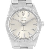 Rolex Air King Steel Silver Dial Mens Watch 14010 Box Papers