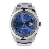 Rolex DATEJUST II 41mm Stainless Steel Blue Roman Dial...