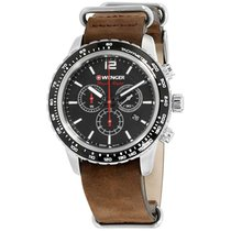 Wenger Roadster Black Night Black Dial Leather Strap Men's...
