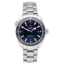 Omega Seamaster Planet Ocean pre-owned 43.5mm Blue Date GMT Fold clasp