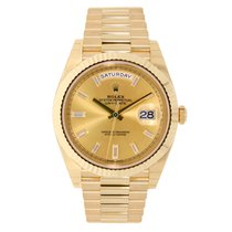 Rolex DAY-DATE 40mm 18K Yellow Gold President Diamond Dial ...