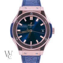 Hublot Rose gold Quartz Blue 33mm pre-owned Classic Fusion Blue