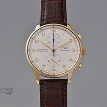 IWC Yellow gold Automatic Silver 41mm pre-owned Portuguese Chronograph