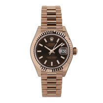Rolex Rose gold Automatic Brown No numerals 28mm new Lady-Datejust