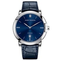 Harry Winston Midnight pre-owned 42mm Blue Date Crocodile skin