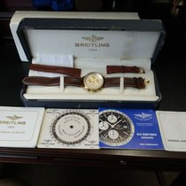 Breitling Yellow gold Automatic White No numerals 41mm pre-owned Old Navitimer