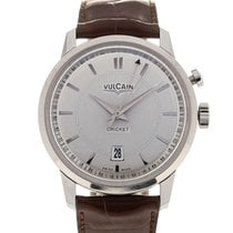 Vulcain 50s Presidents' Watch 42 Silver Guilloche Chestnut Strap