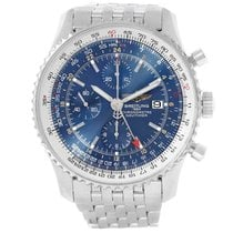 Breitling Navitimer World pre-owned 46mm Blue Chronograph Date GMT Tachymeter Steel