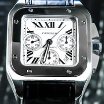 Cartier Chronograph 41mm Automatic pre-owned Santos 100 Silver