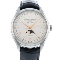 Baume & Mercier Clifton pre-owned 43mm Silver Date Month Leather