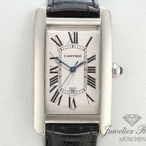 Cartier Tank Americaine Weissgold 750 Leder Grosses Modell...