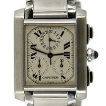 Cartier Tank Française pre-owned 28mm White Chronograph Date Steel