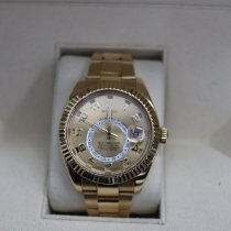 Rolex Yellow gold Automatic Champagne Arabic numerals 42mm pre-owned Sky-Dweller