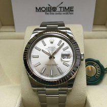 Rolex Datejust II Silver Index Dial White Gold Bezel 41mm NEW