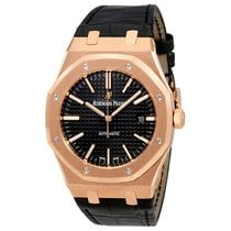 Audemars Piguet Royal Oak 41mm Rose Gold Black Leather Strap...