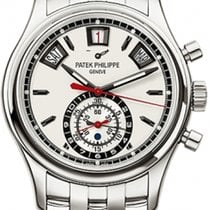 Patek Philippe Steel Automatic Silver No numerals 40.5mm new Annual Calendar Chronograph