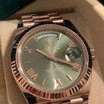 Rolex Day-Date 40 Oro rosa 40mm Verde Sin cifras