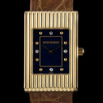 Boucheron 18k Yellow Gold Blue Diamond Dial Reflet Ladies...