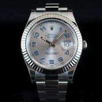 Rolex Datejust II  Steel 18K Wh Gold Bezel Silver Arabic