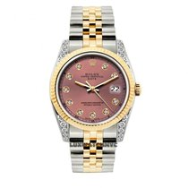 Rolex Date Unisex 34mm Pink Dial Gold And Stainless Steel...