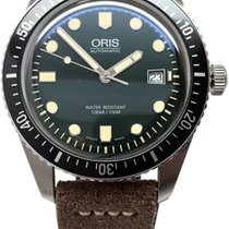 Oris Divers Sixty Five Green Dial Leather Strap