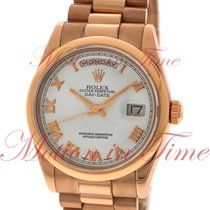 Rolex Day-Date 36 Or rose 36mm Blanc Romain