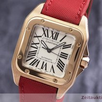 Cartier Red gold Automatic Silver 33mm pre-owned Santos 100