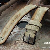 MiLTAT 22mm Grey Green Nubuck Watch Strap, Black St. PVD
