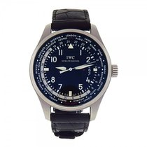 IWC Pilot's Worldtimer Stainless Steel Black Dial Automatic...