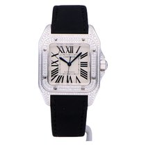 Cartier White gold Automatic Silver Roman numerals 44mm pre-owned Santos 100