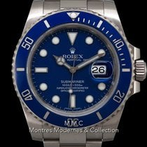 Rolex Submariner Date occasion 40mm Bleu Date or blanc