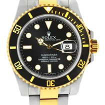 Rolex 116613LN  Pre-Owned Two Tone Submariner Black Dial