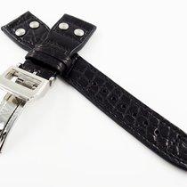 萬國 22mm IWC Style Black Alligator Crocodile Leather Replacemen...