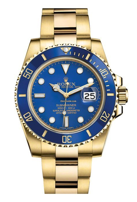 Rolex Submariner Date 40mm Yellow Gold Blue Dial