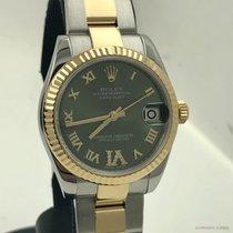 Rolex Lady-Datejust Zlato/Zeljezo 31mm Zelen Rimski brojevi