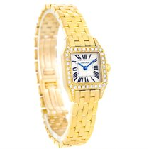 Cartier Santos Demoiselle Ladies 18k Yellow Gold Diamond Watch...