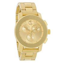 Movado Bold Champagne Dial Gold Tone Chronograph Quartz Watch...