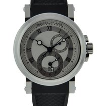 Breguet Marine Gmt Stainless Steel Silver Dial On Rubber Strap...