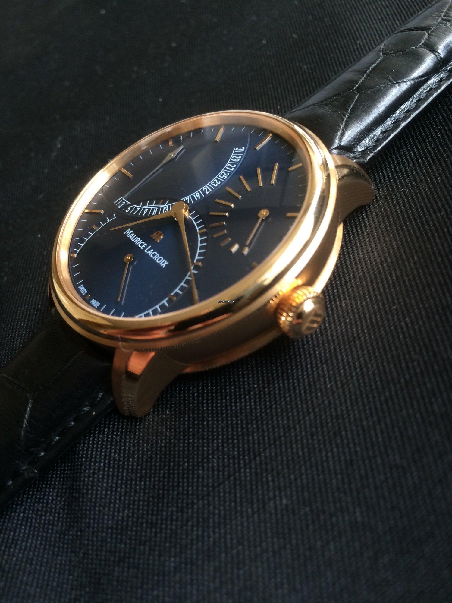 maurice lacroix masterpiece calendrier rétrograde uhr 18k gold