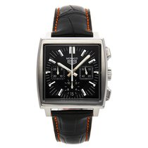 TAG Heuer Steel Automatic Black No numerals 38mm pre-owned Monaco