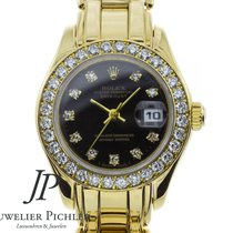 Rolex Lady-Datejust Pearlmaster Oro amarillo 29mm Negro Sin cifras