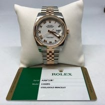 Rolex Datejust 116201 18k Rose Gold and Steel White Dial