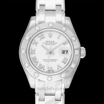 Rolex Lady-Datejust Pearlmaster Or blanc 29mm Nacre