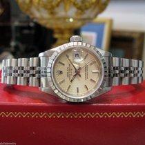 Rolex Oyster Perpetual Lady Date Stal 26mm Srebrny Bez cyfr