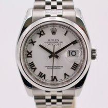 Rolex Acier Remontage automatique Blanc Romain 36mm occasion Datejust