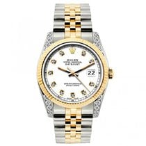 Rolex Datejust Ladies' 26mm White Dial Yellow Gold And...
