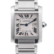 Cartier Stainless Steel Mid Size Tank Francaise Quartz Wrist